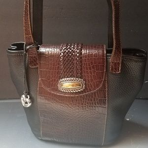 Brighton blk brown croc braided shoulder bag EUC
